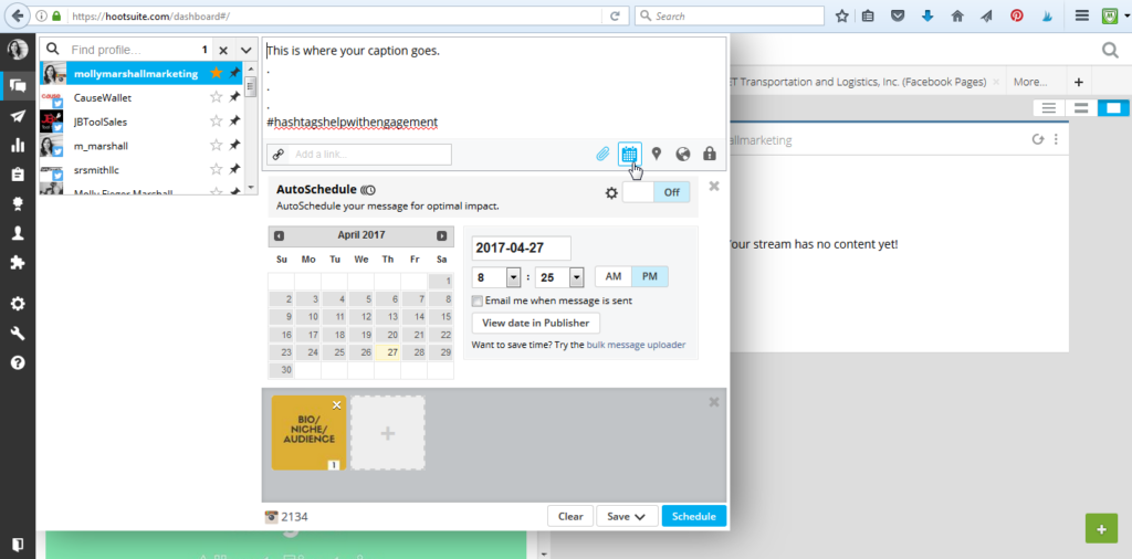 Add Date and Time for Your Instagram Post to Schedule it on Hootsuite