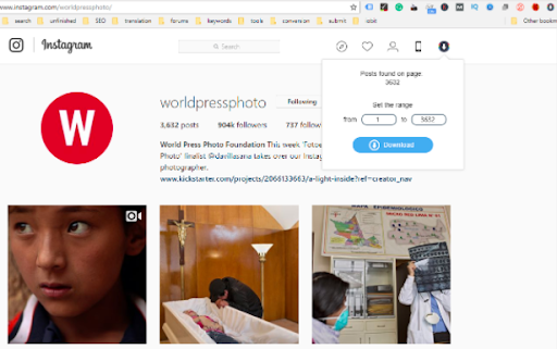 Download all Instagram photos at once- Method 3