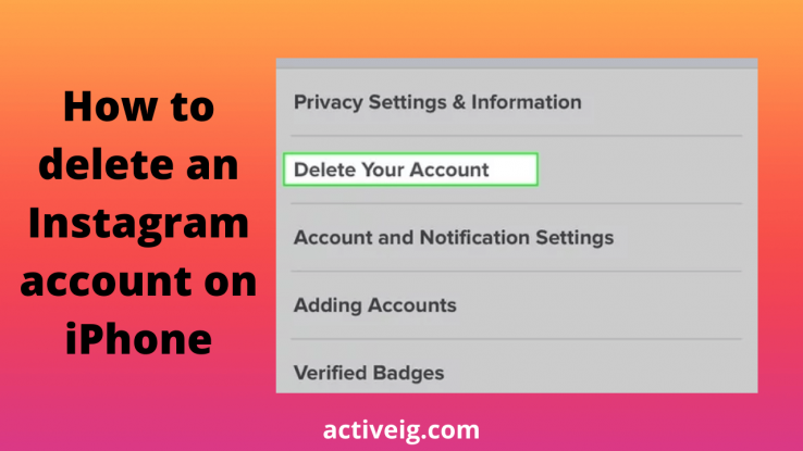 How to delete an Instagram account on iPhone