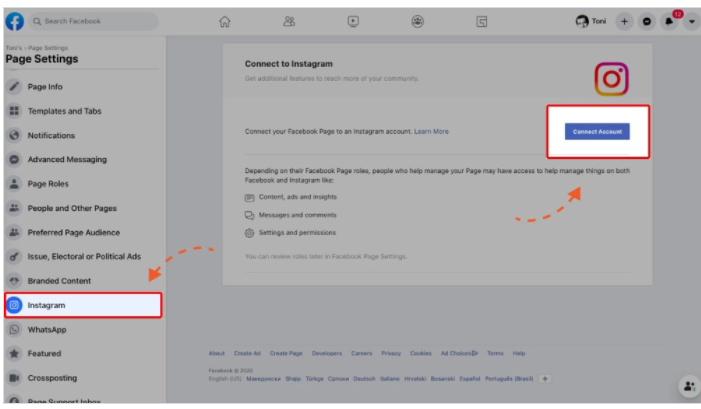 Step to connect facebook page to instagram