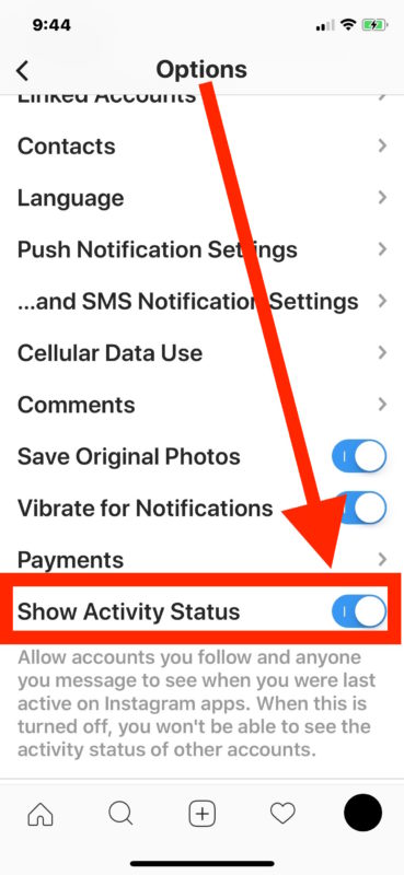 Step to Turn off active status on Instagram