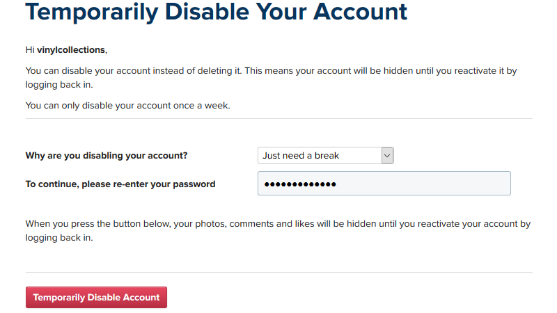 Temporarily Disable your Account