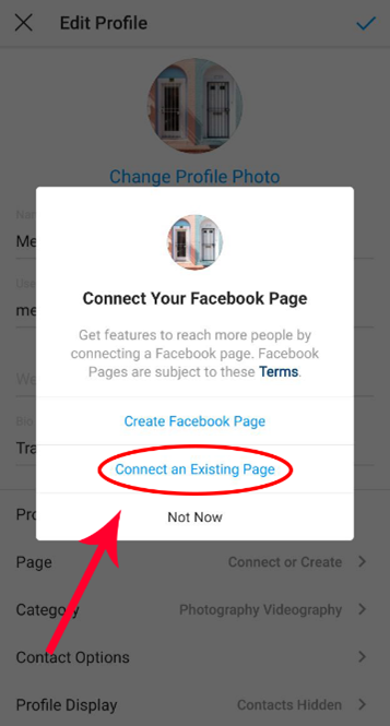 Select Option of Connect to Existing page