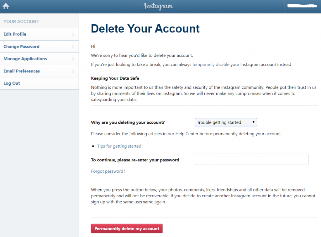Permanently Delete Business Account